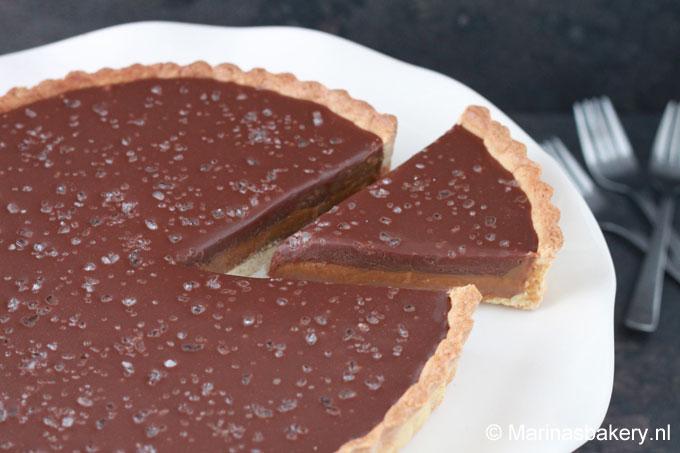 Salted chocolate dulce de leche taart