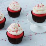 Pink cupcakes with cream cheese frosting